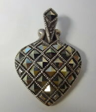 Antique Sterling Silver 925 Genuine Marcasite Puffy Heart Pendant Charm