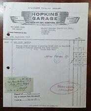 1968 Hopkins Garage, Meddon Street, Bideford. Standard Triumph Dealer Invoice