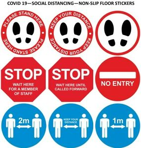 FLOOR STICKERS - NON-SLIP - 19COVID SOCIAL DISTANCING - VARIOUS DESIGNS & SIZES