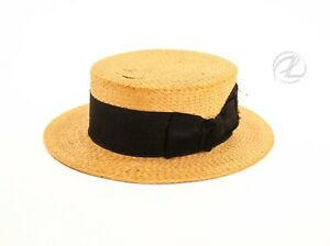 Antique Men Hat Straw Victorian Paris ORB Company Size 6 ¾ Black Ribbon W Clip