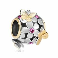 Pandora Charms Bracelet Beads October Flower Butterfly Pink Crystal Charm Bead