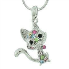 "W Swarovski Crystal Cat Pet Kitten Kitty Multi Color Pendant Necklace 18"" Chain"