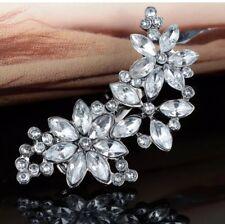 Formal/Bridal Silver Glass Crystal Rhinestone Flower Metal Hair Clip/Pin