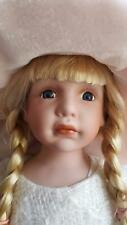 """LARGE 22"""" HANDMADE PORCELAIN DOLL BEAUTIFUL CHILD-LIKE FACE - LOTS FANCY CLOTHES"""