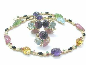 """Tourmaline Carved Cabs & Diamond Jewelry Set 103.40Ct Solid 18Kt Yellow Gold 17"""""""