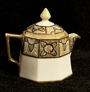Vintage Hand Painted Petite Art Nouveau Nippon Teapot With Gold Accents