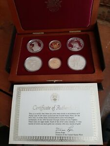 1983,84 Olympic Commemorative 6 pc. Coin set 2 Gold and 4 Silver, 3 Proof & UNC