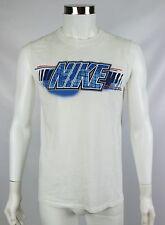 Nike Mens Size Medium White Blue Spellout 100% Cotton Sleeveless Shirt Tank Top