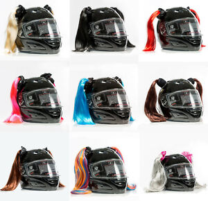 Stick On Suction Cup Motorcycle Helmet Pigtails Ponytail