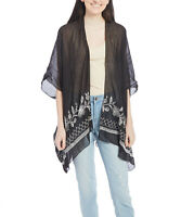 Black Sheer Floral Embroidered Kimono Sleeve Open Front Cardigan Women Cover Up