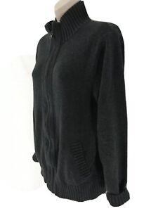 J Crew Womens S Dark Gray Zip Front Cotton Cardigan Sweater