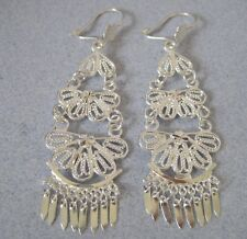 Mexican 925 Silver Taxco Handcrafted Filigree Dangle Swivels Long Sexy Earrings