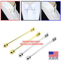 Men Necktie Shirt Collar Pin Round End Tie Clip Clasp Pin Bar Brooch Gift Silver