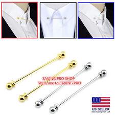 Men Necktie Shirt Collar Pin Round End Tie Clip Clasp Pin Bar Brooch Gift Silver