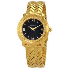 Versace DV 25 Black Dial Gold-tone Ladies Watch VAM05 0016