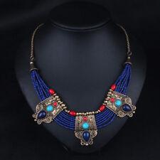 Chic Turquoise Coral Blue Bead Tibetan Necklace Lapis Lazuli Stone Necklace Bibs