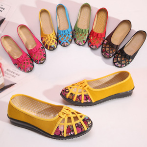 Retro Women's Loafers Hollow Flats Floral Printed Canvas Flat Casual Shoes Pumps