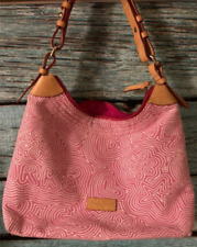 Dooney and Bourke Pink & White Hand Bag Logo Charm Floral~ Excellent Condition