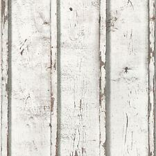 Rustic Planks Wallpaper White - as Creation 953701 Textured