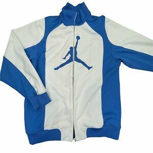 Jordan Mens White Blue Logo Printed Mock Neck Full Zip Windbreaker Jacket Medium