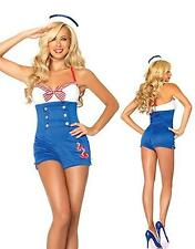 Adult Women's Sexy Pinup Sailor Halloween Costume 2pc Romper Outfit Small/Medium