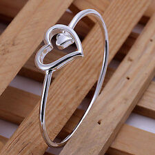 UK New Silver Plated Heart Bangle Bracelet Interlocking Big Small Love   (082)