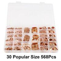 568x Dichtring Sortiment Set Kupfer Dichtungen Öl Kupferringe Kupferscheiben Box
