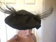 Vintage 1940's John Frederics Made to Order Black Felt Floppy Hat with Feathers