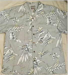Tommy Bahama Silk Short Sleeve Hawaii Mens Button Up VINTAGE, WOOD BUTTONS LARGE