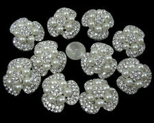 Wholesale 10pcs Faux Pearl Crystal Rhinestone Brooch Pins Wedding Bouquet Decor