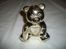 LENOX SILVER TEDDY BEAR BANK WITH PHOTO HEART