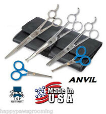 *USA MADE 5 pc SET PET Dog PRO GROOMING THINNING,CURVED&STRAIGHT SHEARS Scissors