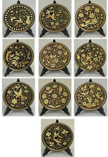 Damascene Gold Bird & Flower Round Decorative Mini Plate by Midas Toledo Spain