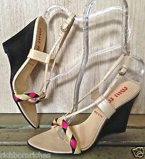 MIU MIU tan leather pink black yellow braided wedge sandals Near Perfect 38.5