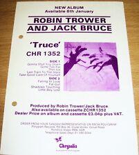 "ROBIN TROWER AND JACK BRUCE REC COM PROMO RETAIL INFO SHEET ""TRUCE"" ALBUM 1981"
