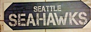 """Artissimo NFL Seattle Seahawks Rustic Sign Canvas Print Wall 10"""" X 30"""" NEW"""