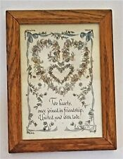 """Creative Calligraphy Framed Picture """"Two Hearts"""" Lynn Norton Parker 1989"""