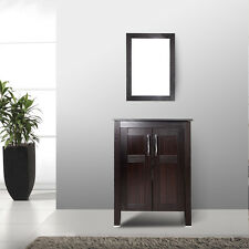 "24"" Bathroom Vanity Cabinet Top Vessel Sink Single Basin w/Mirror Marble Faucet"
