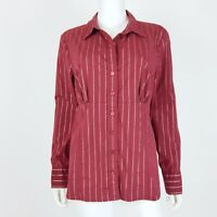 The Limited Size XL Blouse Top Button Down Long Sleeve Burgundy Silver Shirt