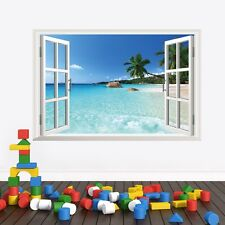 Beach resort 3D Window View Removable Wall Sticker Art PVC Decal Decor Mural