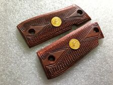 New Grip For COLT GOVERNMENT 380 GRIP, DIAMOND CHECKERED WOOD WITH FRAME