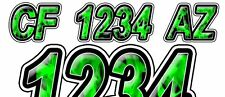 GREEN FLAME Custom Boat Registration Number Decals Vinyl Lettering (2 Sets) USCG
