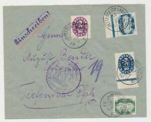 D.Reich Dienst Einschreibenbrief HETTENLEIDELSHEIM 1922 n. TIEFENTHAL (47346)