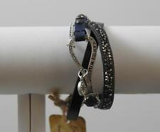 """Trio Band Message I Can I Will Leather Crystal Metal Stackable Bracelet 8"""" Gd1"""