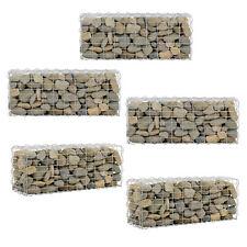 [pro.tec] Set de 5 Gabions Décoration Fils de Fer Galvanisé Gris 100 x 40 x 30cm
