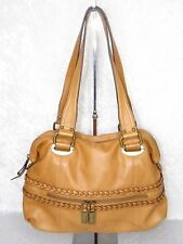 B Makowsky Glove Leather Large Satchel Nantucket Tan Shoulder Purse