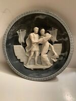 VTG Incolay Carved Art Stone Plate Hector And Andromache Blue White Brunettin