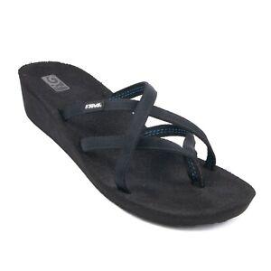Teva Mush Mandalyn Ola 2 Wedge Strappy Slip On Flip Flop Sandal Black Size 11