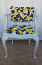 Beautiful wooden armchair upholstered with true  vintage fabric