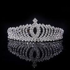 Silver Tiara Princess Crown Diamante Rhinestone Party Wedding Prom Headband Gift